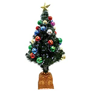#!Cheap Good Tidings 43601 Table Piece Fiber Optic Tree with Balls Star Topper 140 Snow Tips, 36-Inch