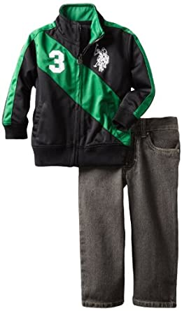 U.S. POLO ASSN. Boys 2-7 Jacket with Jean, Black/Green, 2T