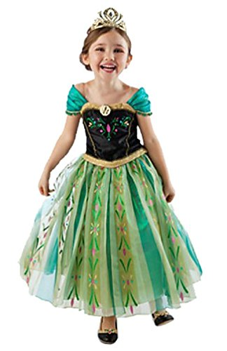 Frozen Anna Elsa Deluxe Girl's Costume Enchanting Dress (Age 3-4 (Heights upto 40 inches or 100 cm), Anna - (Elsa Anna Costume)