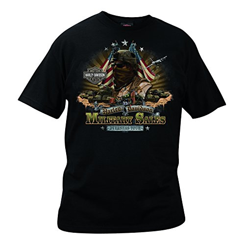 H-D Overseas Tour Marines Custom Military T-Shirt Men's, X-Large, Black