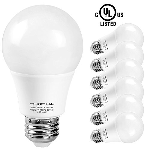 A19 LED Bulb, SHINE HAI Daylight White 5000K 800lm Non-dimmable UL-Listed LED Light Bulbs 60W Equivalent, Bright White, 6-Pack (Exterior Led Bulb compare prices)