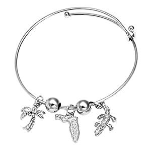 Florida Sunshine State Gators Vacation Bangle Bracelet SilverTone by Cape Cod Jewelry-CCJ