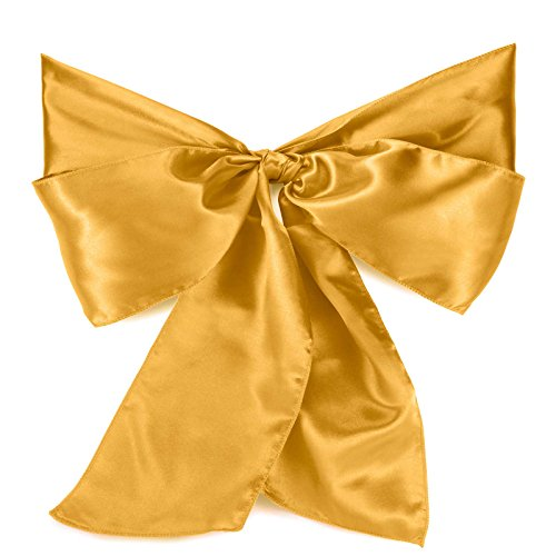 Lann's Linens - 100 Satin Chair Cover Bow Sashes - for Wedding or Party Use - Gold