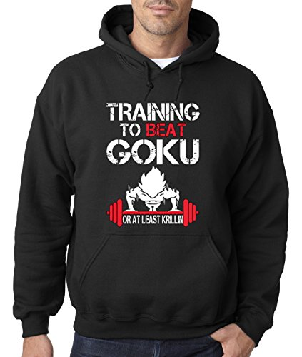 New Way 210 - Hoodie TRAINING TO BEAT GOKU OR AT LEAST KRILLIN GYM Unisex Pullover Sweatshirt 2XL Black