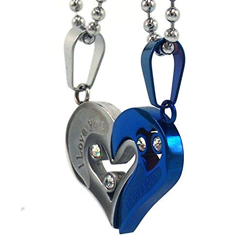 Couple Stainless Steel Necklace Sets I Love You Heart Shape Pendant (Blue&Silver) (Couple Necklace Stainless Steel compare prices)