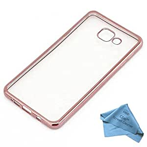 CZap Meephone Electroplated Edge Soft Transparent Case Back Cover for Samsung Galaxy A7 2016 - Rose Gold
