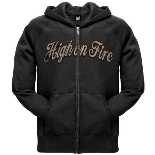 Old Glory Mens High On Fire - Peace Pipe Zip Hoodie - 2X-Large Black