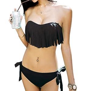 DJT Bikini à Frange/Trikini Push Up- Eté -Femme - Maillots de Bain 2 pièces à la mode Pour Femme Elégante été Plage Natation Noir L