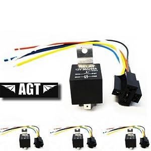 AGT (5 Pack) 30/40 AMP Relay Harness Spdt 12V Bosch Style (40AMP-HRNS) by AGT