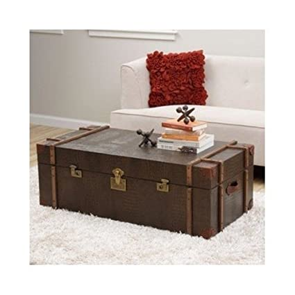 Journey Natural Croc-embossed Leather Trunk Coffee Table