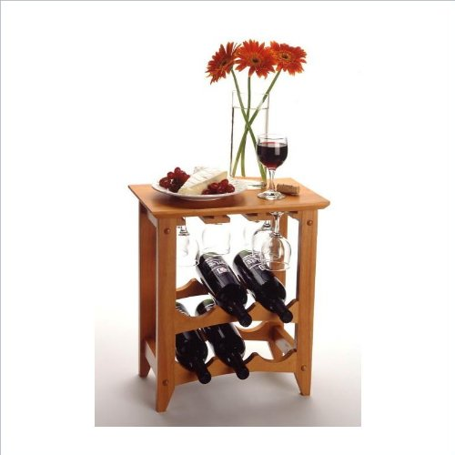 Winsome Basics 6 Bottle Wine Rack in Honey Pine