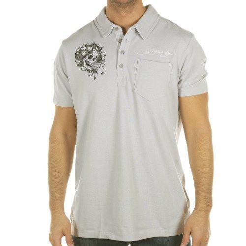 Ed Hardy Mens Harmony Rhinestoned Polo Shirt -Grey Violet - Xx-Large