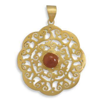 Sterling Silver 14 Karat Gold Plated Pendant with Carnelian Center