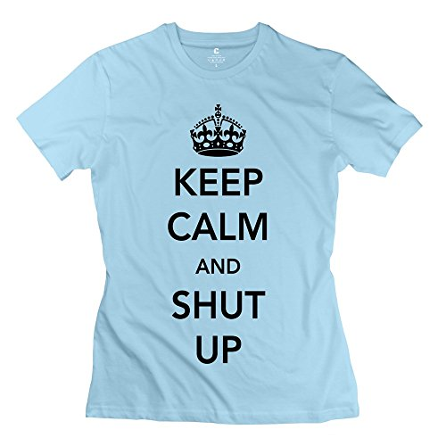 ZZY Geek Keep Calm Shut T Shirt - Women's T-shirts SkyBlue