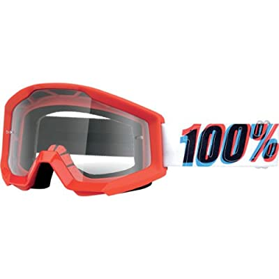 100% Strata MX Goggles , Primary Color: Red, Distinct Name: Strata 3D/Clear Lens, Gender: Mens/Unisex 50400-075-02