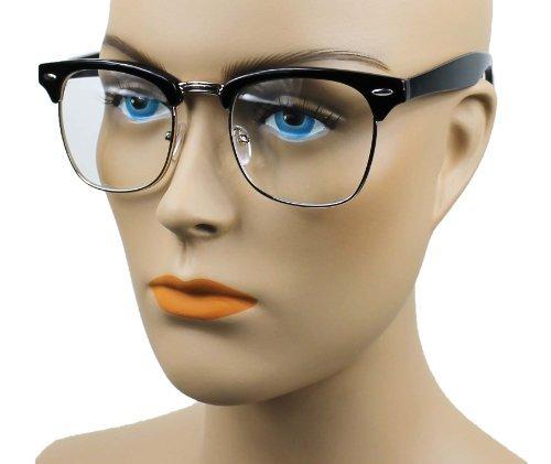 New Vintage Classic Half Frame Semi-Rimless Wayfarer Clear Lens Glasses