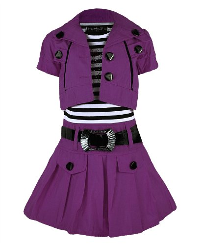 RageIT Little Girl's Belted Sleeveless Dress & Short Sleeve Jacket 7-8