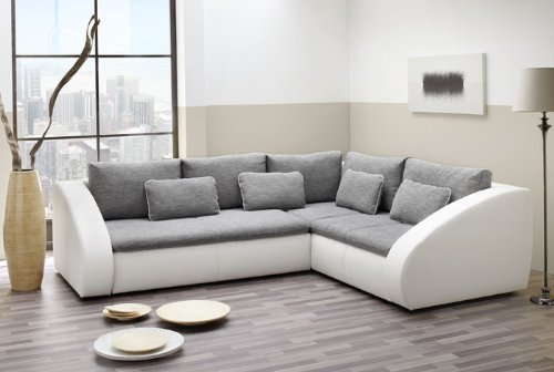 Wohnlandschaft Polsterecke Starla 283x230cm, Webstoff grau Kunstleder weiß Schlafsofa Sofa Couch Ecksofa Eckcouch