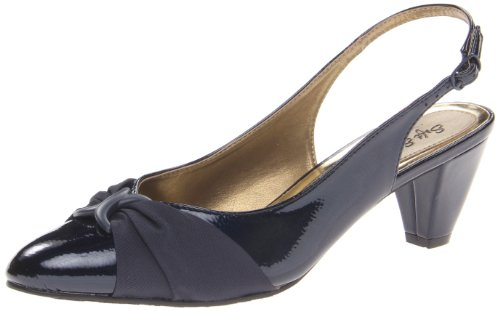Soft Style by Hush Puppies Women's Dezarae dress Pump, Navy Crinkle Patent, 8 M US