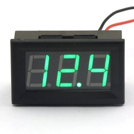 """Riorand 0.56"""" Digital Electric Automotive Voltmeter 2 Wires Dc 7-99.9V Green Led Display Car Battery Monitor"""