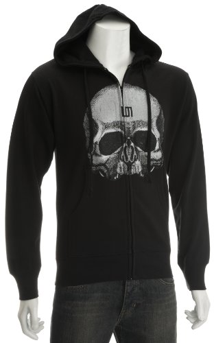 30 Seconds To Mars Giant Skull Men's Zipped Hoodie Black X Large