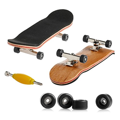 Mimgo Store Fingerboard Wooden Finger Movement Canadian Maple Skateboard Metal Nuts Trucks Basic Bearing Black Wheel (Tech Deck Trucks And Wheels compare prices)