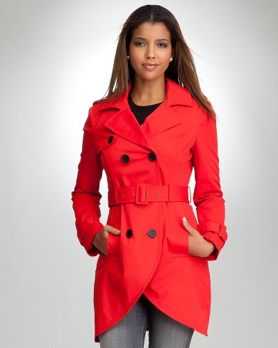 Bebe Tulip Trench Coat MARS RED Size Medium