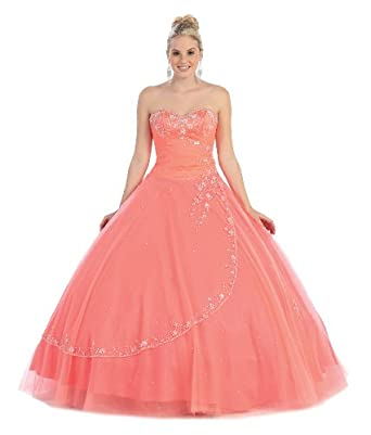 Ball Gown Formal Prom Strapless Wedding Dress #586 (6, Coral)