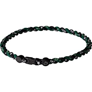 Phiten Tornado Titanium Necklace, Black/Forest Green, 18 Inch
