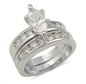 CZ ENGAGEMENT RING WEDDING SET - Marquise Cut Silver Tone CZ Wedding Ring Set