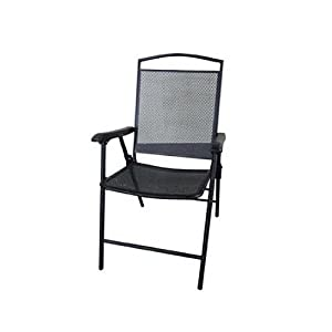 Courtyard Creations FLS080 Folding Steel Mesh Patio Chair, 24.82 by 22.85-Inch, Black