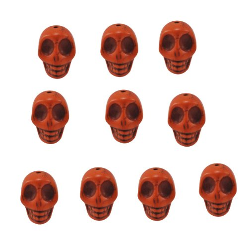 Orange Magnesite Dyed Gemstone Beads Carved Skull Beads, 14 X 10mm (10 Per Set)