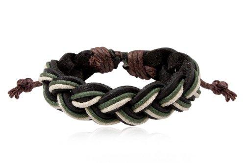 Fashion Black White Green Leather Wrap Cuff Plait Bracelet Men's Jewelry