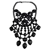 NABROJ Black Statement Necklace for Women Gothic Costume Novelty Fashion Drag Queen Jewelry with Gift Box 1 Pc-HL42 Black (Color: All black)