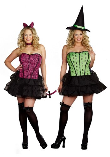 Under My Spell Plus Size Reversible Cat to Witch Costume