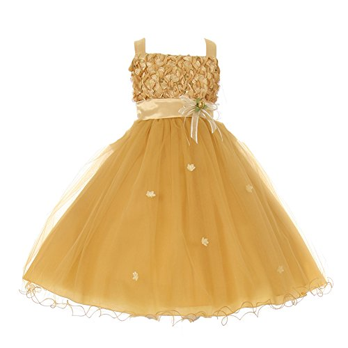 Big Girls Gold Ribbon Tulle Satin Sash Special Occasion Dress 8