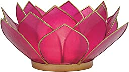 Luna Bazaar 3-Layer Capiz Lotus Candle Holder (2.25-Inch, Fuchsia Pink & Gold, Gold-Edged) - For Use with Tea Lights - For Home Decor, Parties, and Wedding Decorations