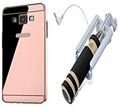 Novo Style Back Cover Case with Bumper Frame Case for SamsungGalaxyJ1 Ace Rose Gold + Wired Selfie Stick No Battery Charging Premium Sturdy Design Best Pocket SizedSelfie Stick