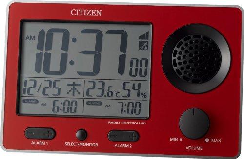 CITIZEN 大音量電波目覚まし Wアラーム機能付 スーパークリアトーンF 赤色 8RZ149-001