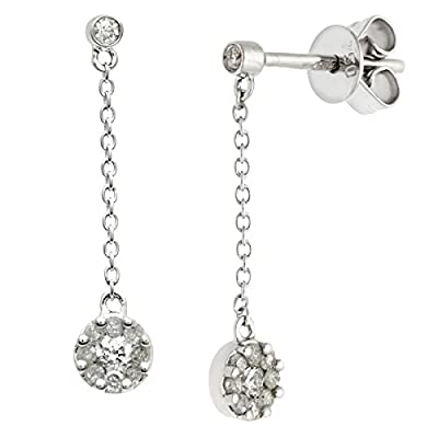 Ariel 18ct White Gold 0.25ct Diamond Round Drop Earrings