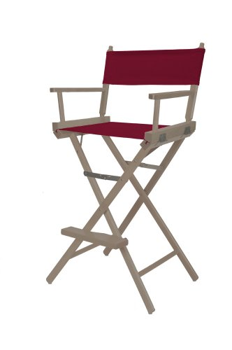 Telescope Casual Heritage Bar Height Director Chair, Rustic Grey Finish with Burgundy Canvas Fabric