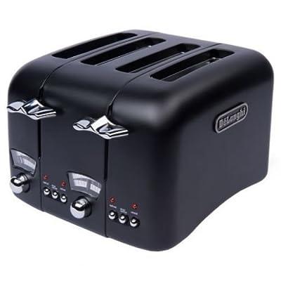 DeLonghi Argento Black 4-slice Wide Slot Toaster by Delonghi