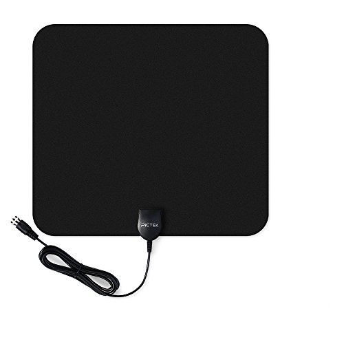 Pictek-Indoor-HDTV-50-Miles-Range-Amplified-Antenna-with-Detachable-Signal-Booster-10-Feet-Cable-Black