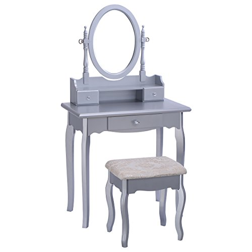 Why Choose Giantex Silver Vanity Jewelry Makeup Dressing Table Set w/Stool Drawer Mirror Wood Desk
