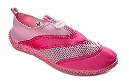 TOOSBUY Athletic Water Shoes Aqua Pool Beach Socks,Swim Shoes(Toddler/Little Kid/Big Kid) Pink26