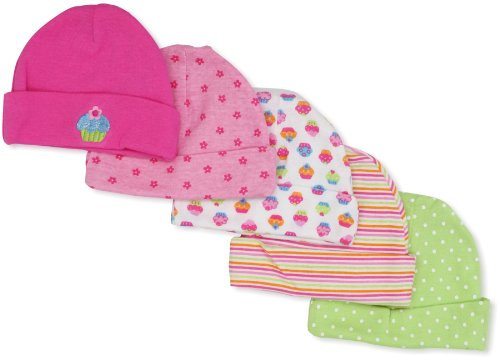 Gerber Baby-Girls  Cupcakes 5 Pack Cap, Pink/White, 0-6 Months