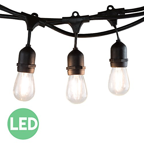 48 Foot LED String Lights with 15 Lights (Plus 3 Extra S14 Bulbs) and 13 Ft Matching Extension Cord for Outdoor & Indoor Use - Perfect for Wedding Lights, Bedroom Lighting, Party Light & More (Product Works Ultra Led 15 Lights compare prices)