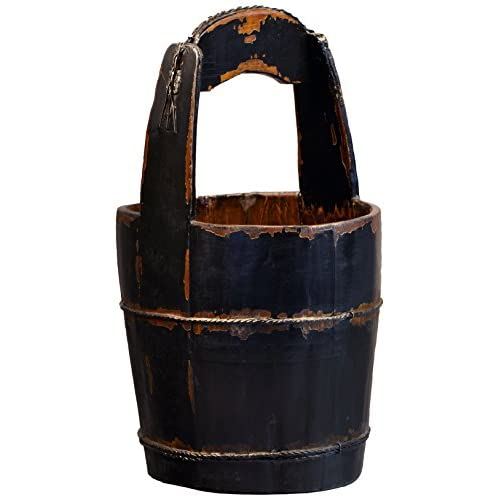 Antique Revival Ridged-Handle Wooden Water Bucket, Black