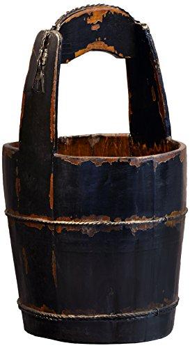 Antique Revival Ridged-Handle Wooden Water Bucket, Black 0