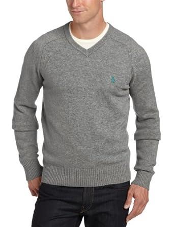 (型男)美国企鹅 万星威 Original Penguin 男式 100%羔羊毛 V领毛衣 多色 $47.4
